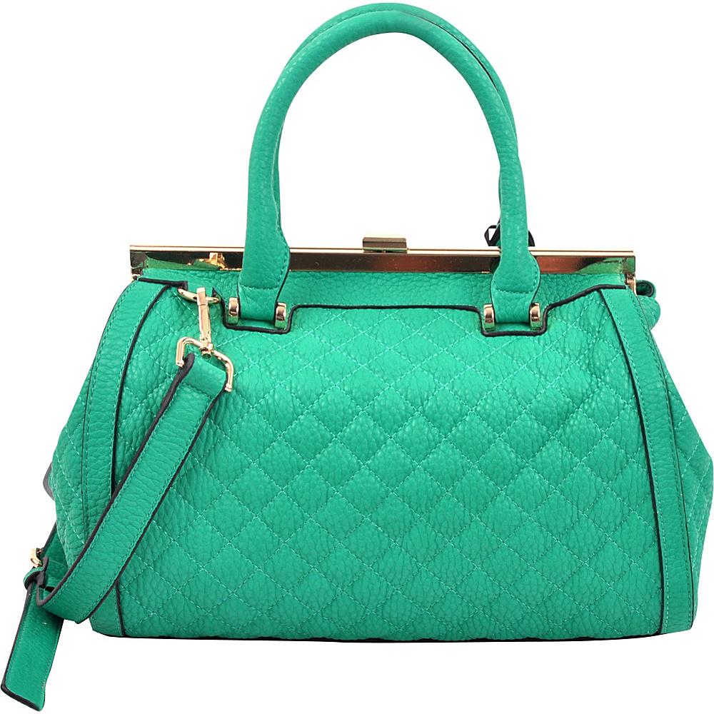 Dasein Quilted Barrel Satchel with Push-Up Closure Green - Dasein Manmade Handbags - Handbags, Manmade Handbags