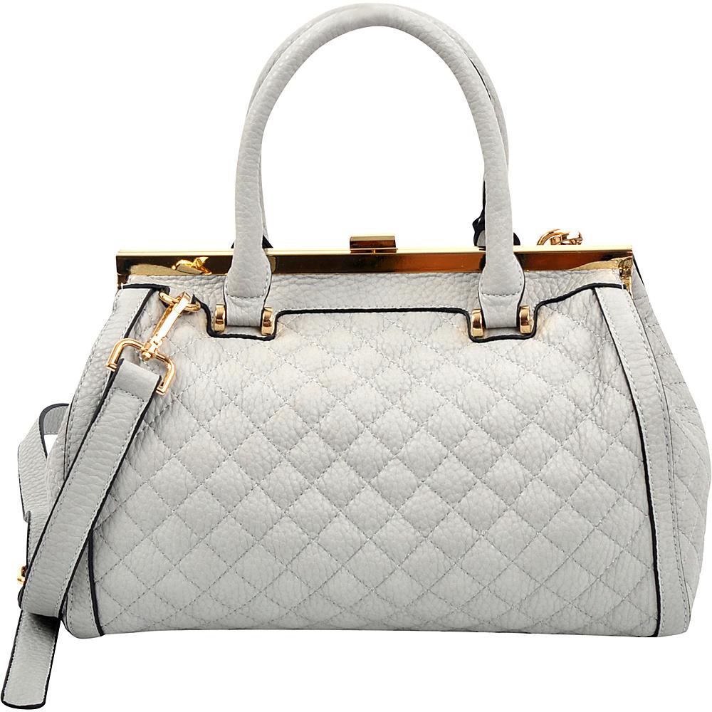 Dasein Quilted Barrel Satchel with Push-Up Closure Grey - Dasein Manmade Handbags - Handbags, Manmade Handbags