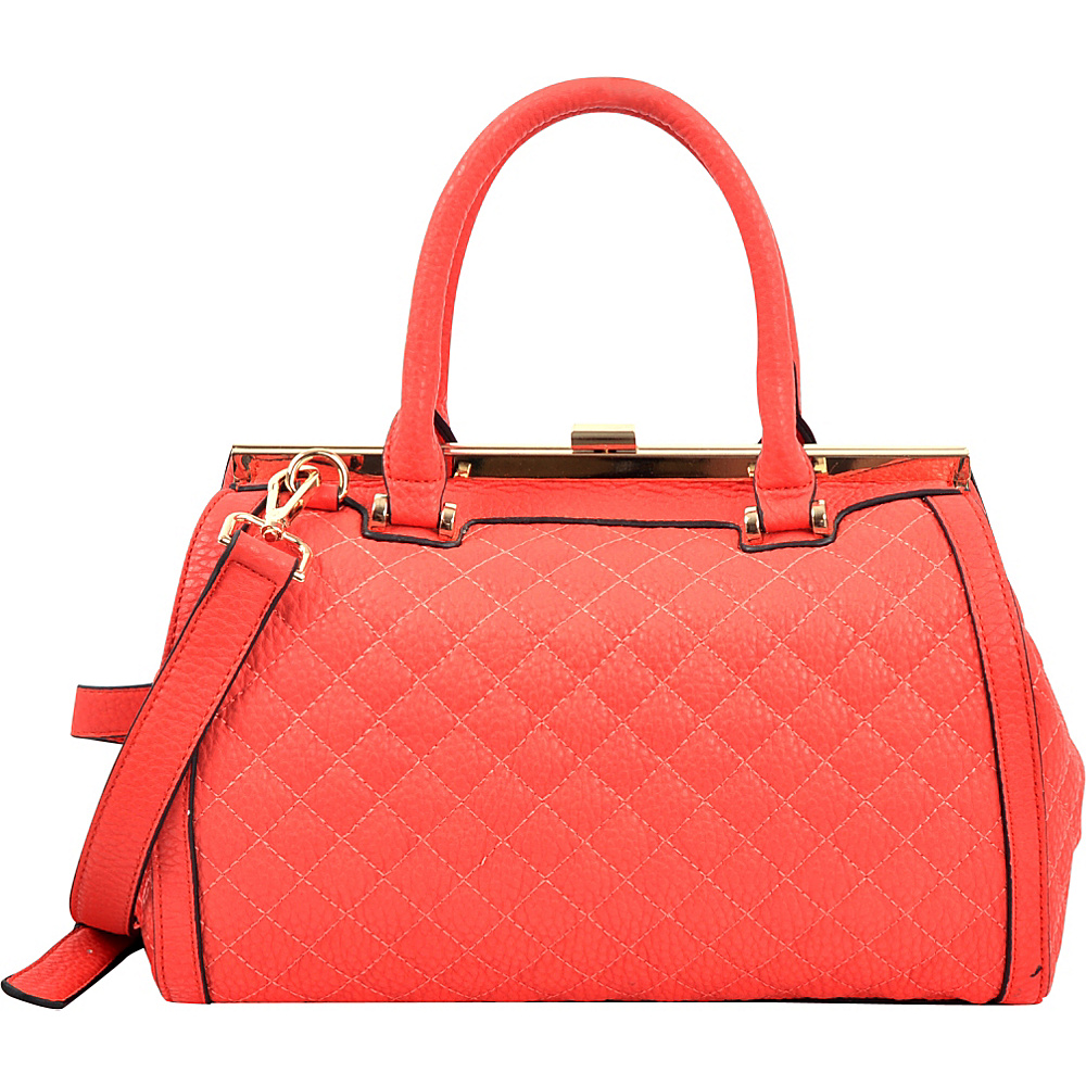 Dasein Quilted Barrel Satchel with Push-Up Closure Red - Dasein Manmade Handbags - Handbags, Manmade Handbags