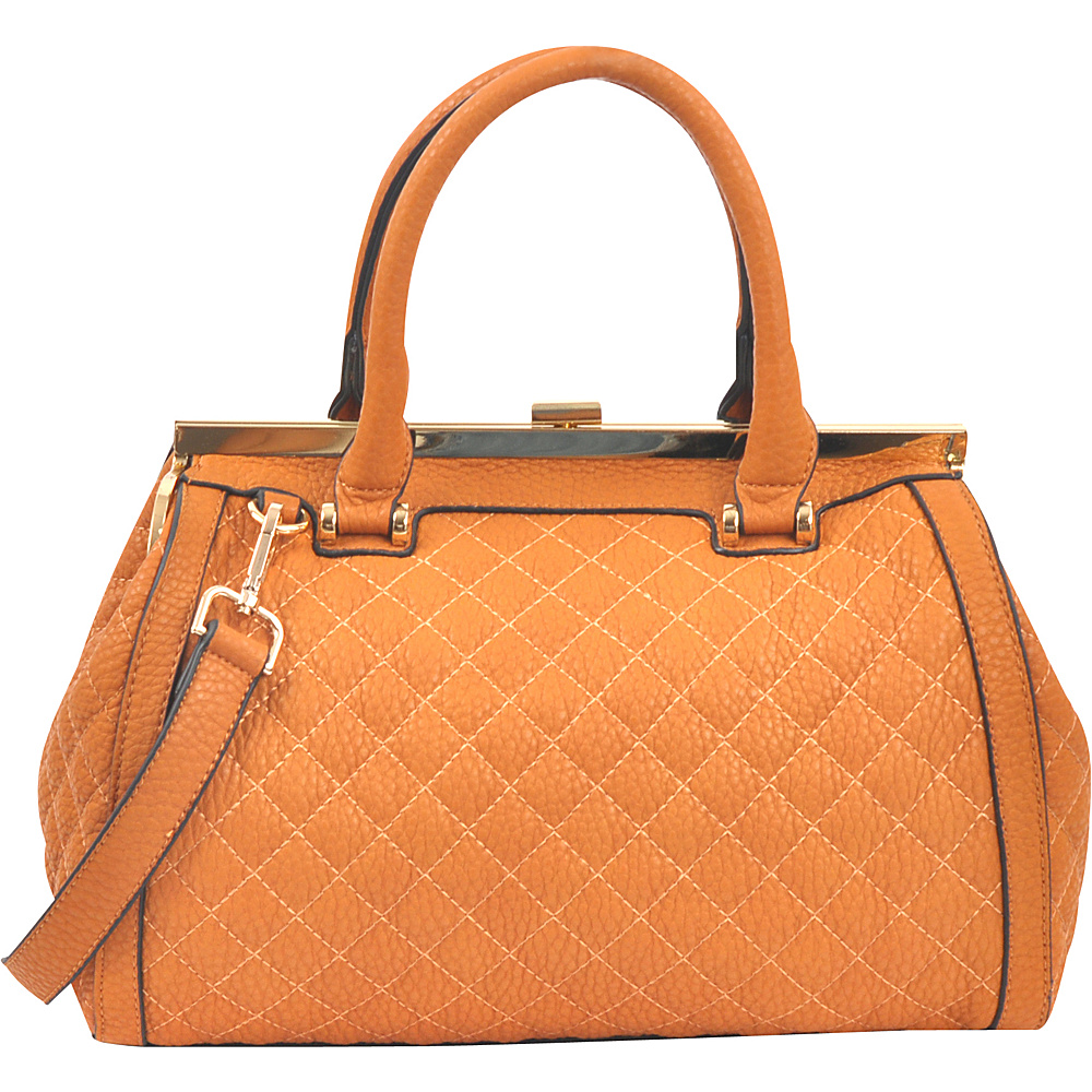 Dasein Quilted Barrel Satchel with Push-Up Closure Tan - Dasein Manmade Handbags - Handbags, Manmade Handbags