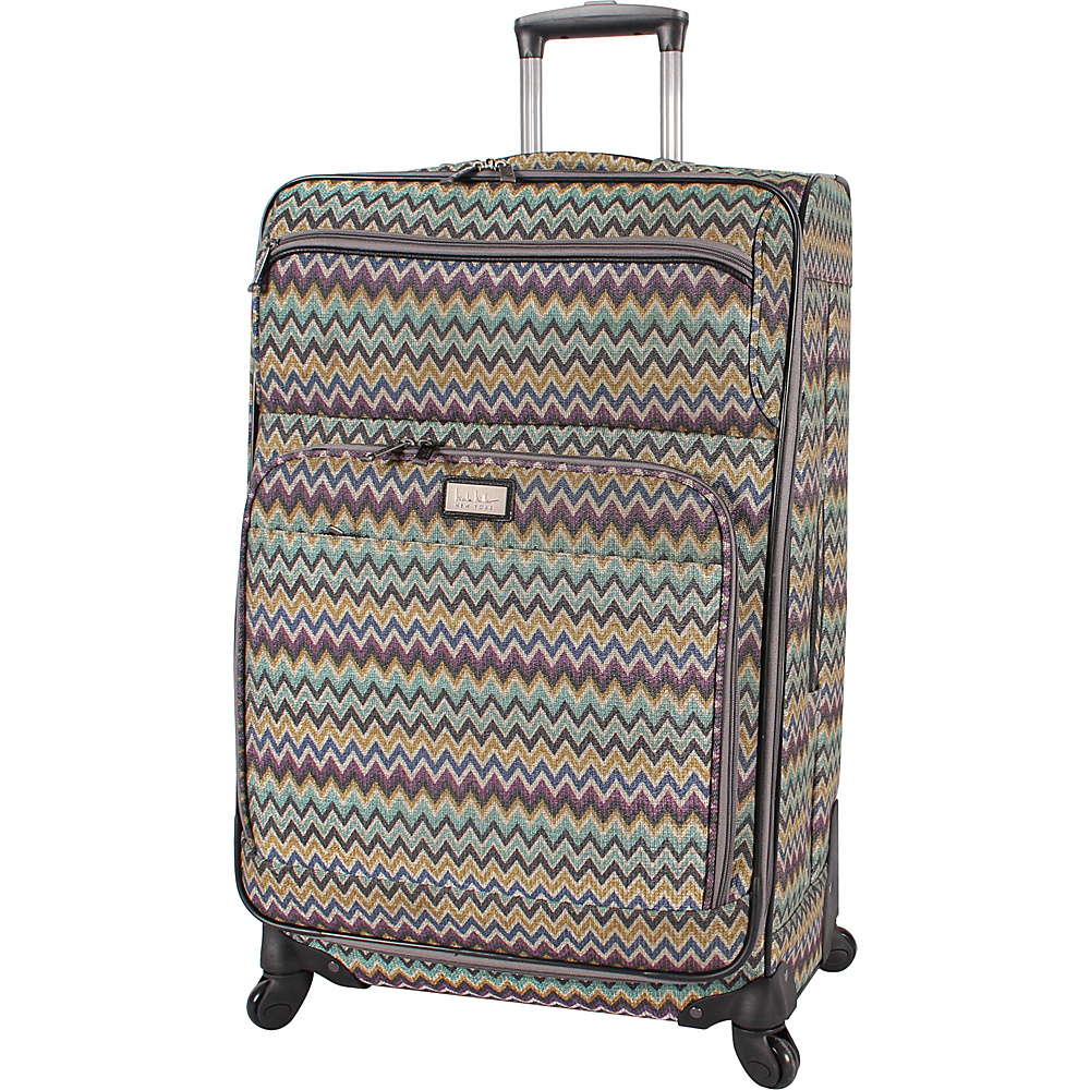 """Nicole Miller NY Luggage Sally 24"""" Exp Spinner Teal - Nicole Miller NY Luggage Softside Checked"""