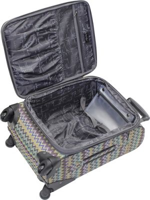Nicole Miller NY Luggage Sally 24 inch Exp Spinner Teal - Nicole Miller NY Luggage Softside Checked