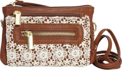T-shirt & Jeans Wristlet Crossbody With Crochet Brown - T-shirt & Jeans Leather Handbags