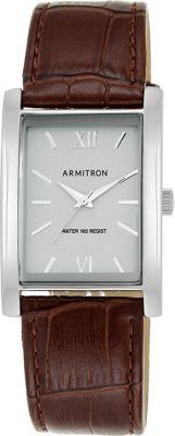 Armitron Men's Silver-Tone Rectangular Case Brown Leather Strap Watch Brown - Armitron Watches