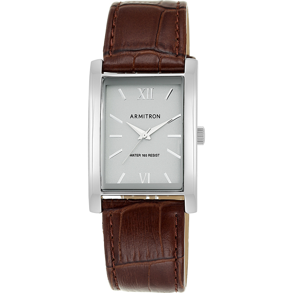 Armitron Men s Silver Tone Rectangular Case Brown Leather Strap Watch Brown Armitron Watches