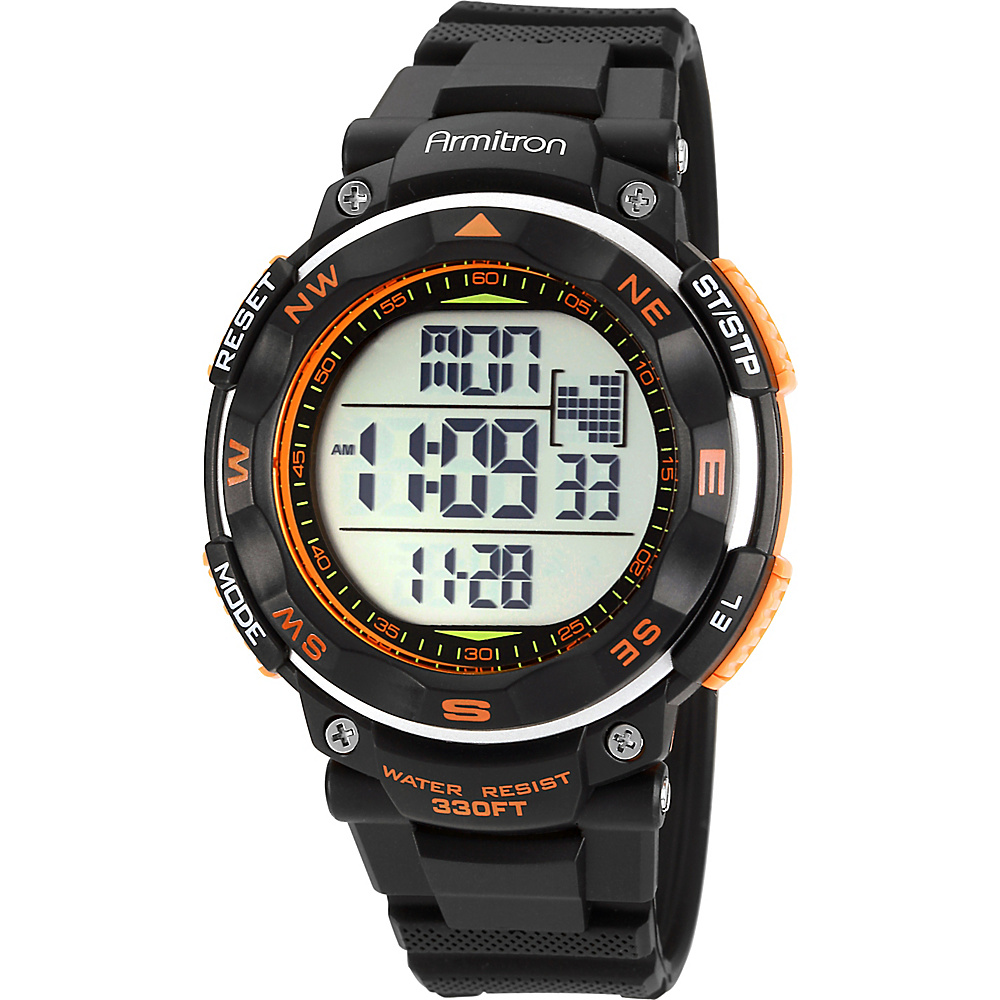 Armitron Sport Mens Black Strap Orange Accented Digital Chronograph Watch Orange Armitron Watches