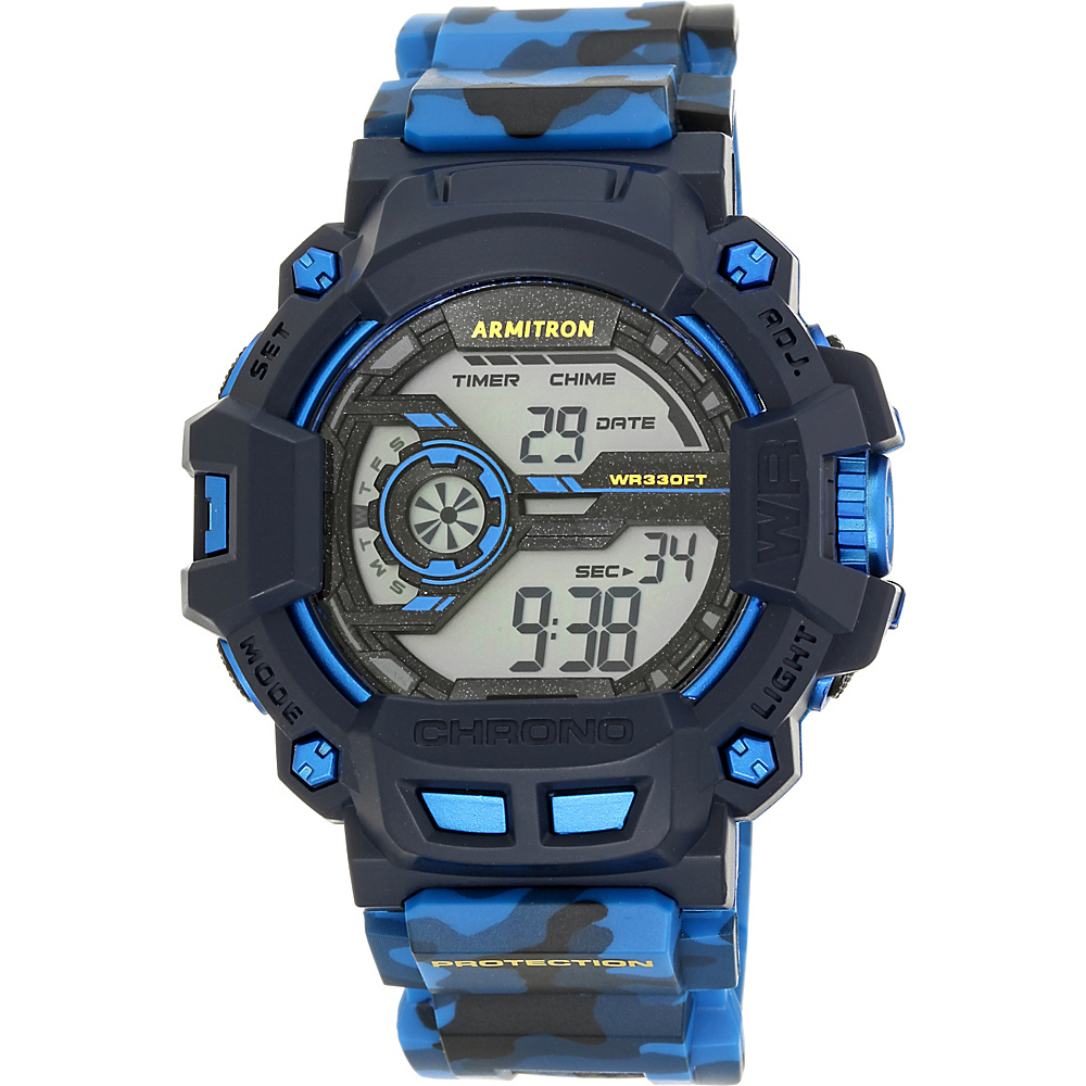 Armitron Sport Mens Digital Chronograph Grey Resin Strap Watch Blue Camoflauge Armitron Watches