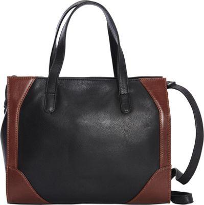 Derek Alexander Small Satchel Black/Whisky - Derek Alexander Leather Handbags