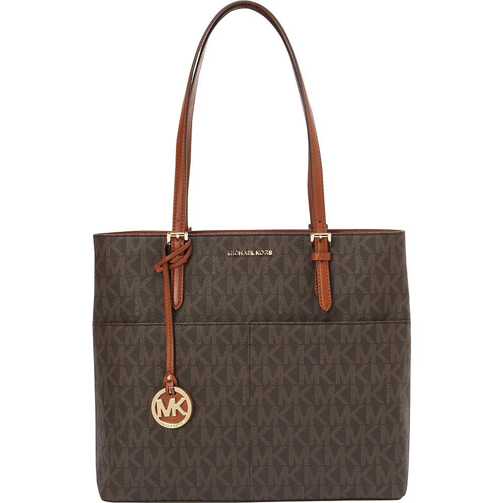 MICHAEL Michael Kors Belford Large Pocket Tote Brown - MICHAEL Michael Kors Designer Handbags