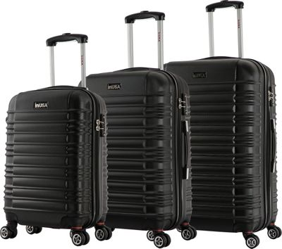 inUSA New York Collection 3-Piece Lightweight Hardside Spinner Luggage Set Black - inUSA Luggage Sets