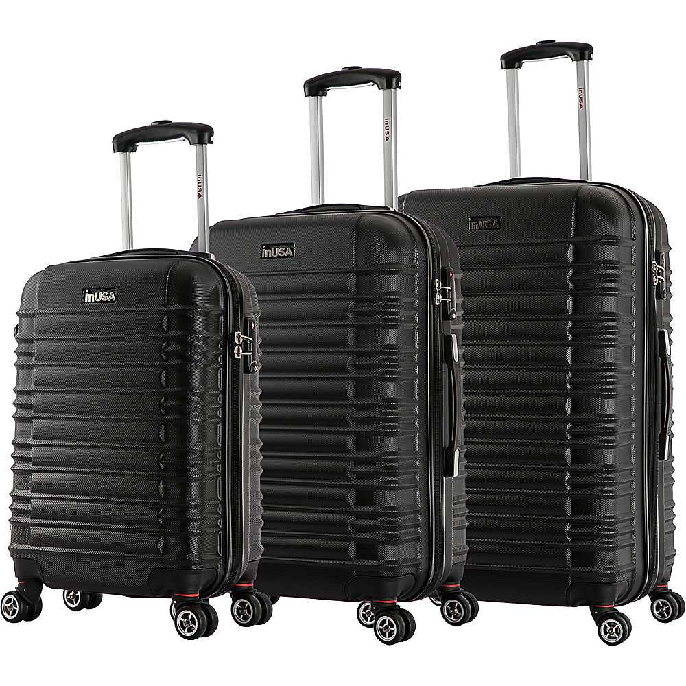 inUSA New York Collection 3 Piece Lightweight Hardside Spinner Luggage Set Black inUSA Luggage Sets