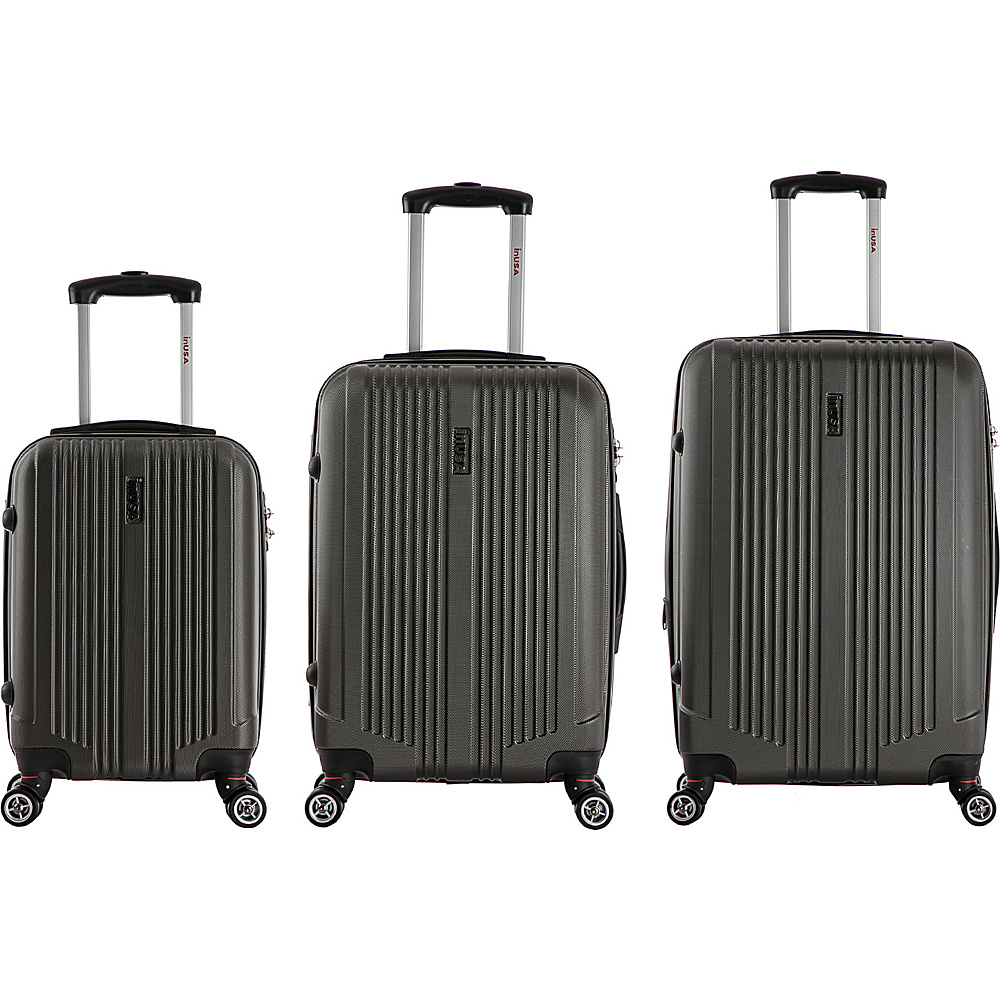 inUSA San Francisco 3 Piece Lightweight Hardside Spinner Luggage Set Charcoal inUSA Luggage Sets