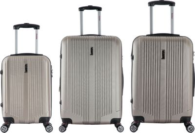 inUSA San Francisco 3-Piece Lightweight Hardside Spinner Luggage Set Champagne - inUSA Luggage Sets