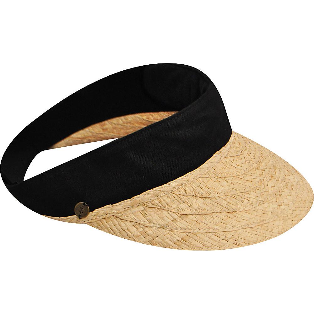 Karen Kane Hats Raffia Visor Hat Natural Black Karen Kane Hats Hats Gloves Scarves