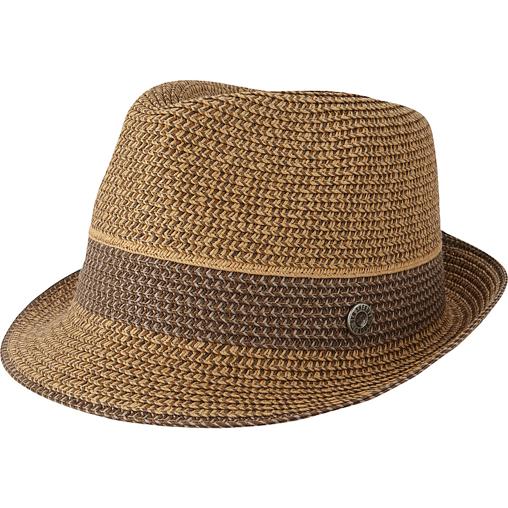Ben Sherman Multi-Stripe Straw Trilby Hat L/XL - Brown - Ben Sherman Hats/Gloves/Scarves