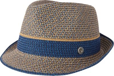 Ben Sherman Multi-Stripe Straw Trilby Hat S/M - Staples Navy - Ben Sherman Hats/Gloves/Scarves