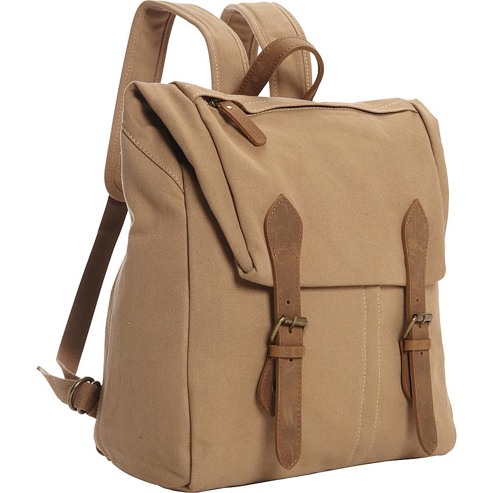 Vagabond Traveler Canvas Casual Travel Backpack Khaki - Vagabond Traveler Business & Laptop Backpacks - Backpacks, Business & Laptop Backpacks