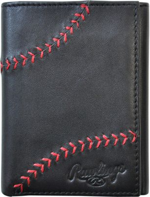 Rawlings Baseball Stitch Trifold Wallet Black - Rawlings Men's Wallets