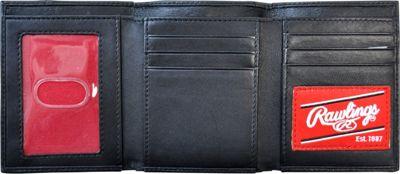 Rawlings Baseball Stitch Trifold Wallet Black - Rawlings Men's Wallets