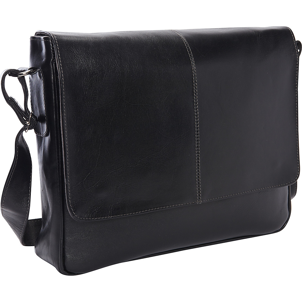 Piel Deluxe Small Messenger - Exclusive Black - Piel Messenger Bags - Work Bags & Briefcases, Messenger Bags