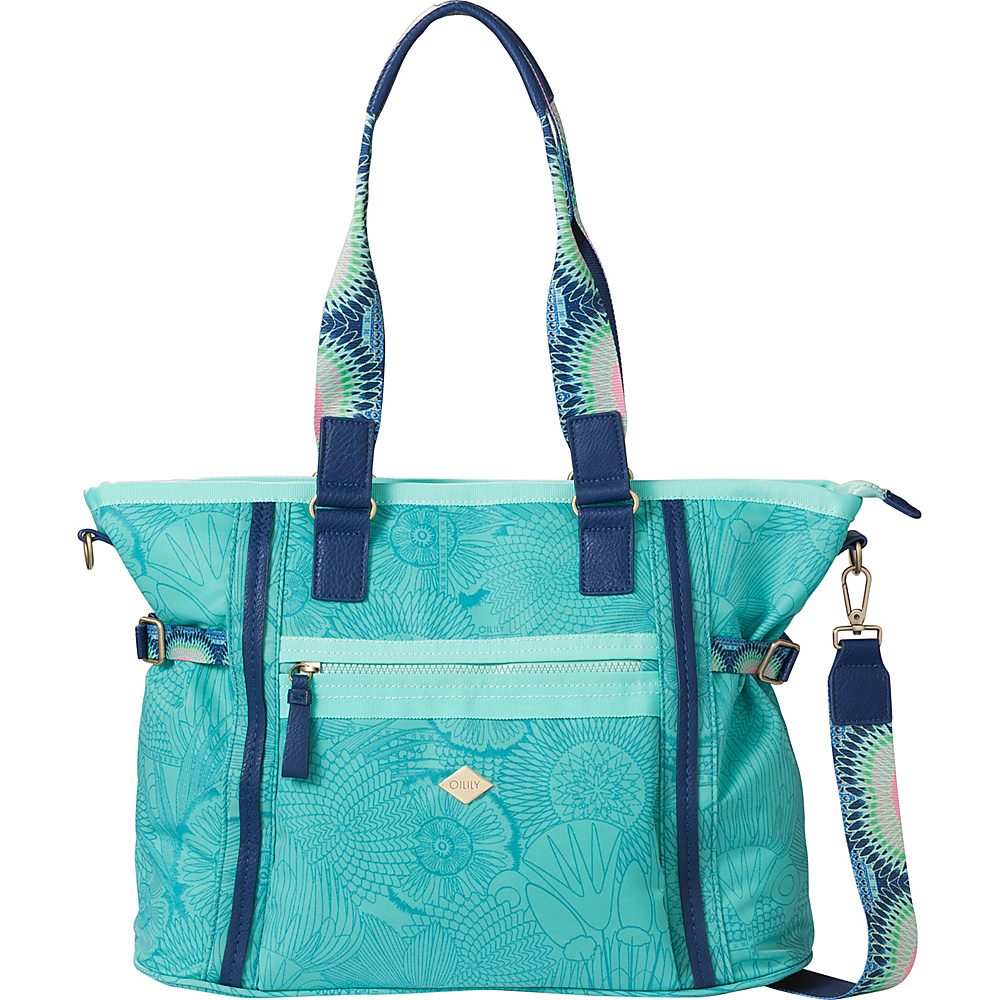 Oilily Carry All Messenger Bag Mint Leaf - Oilily Fabric Handbags