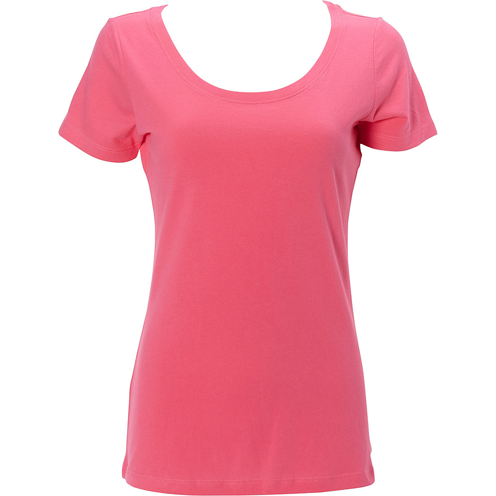 Simplex Apparel The Womens Scoop Tee L - Hot Pink - Simplex Apparel Womens Apparel - Apparel & Footwear, Women's Apparel