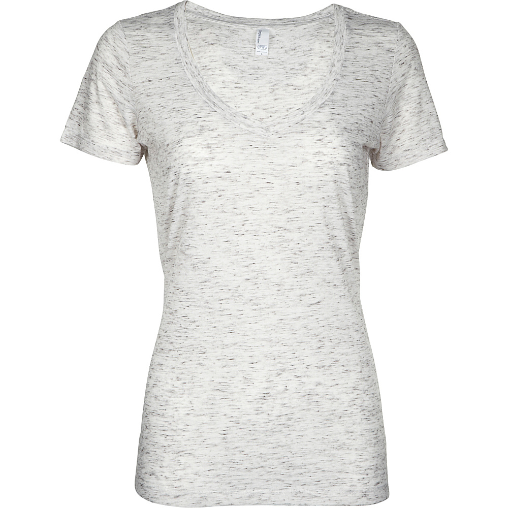Simplex Apparel Caviar Womens Deep V Tee M - Speckled White - Simplex Apparel Womens Apparel - Apparel & Footwear, Women's Apparel