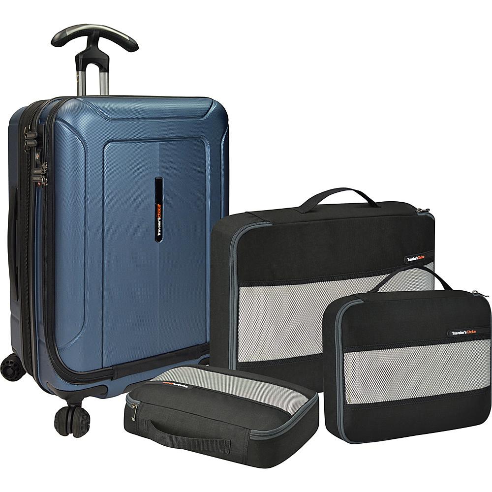 Traveler s Choice Barcelona 22 Polycarbonate Hardside Spinner Packing Cubes Set Blue Traveler s Choice Luggage Sets