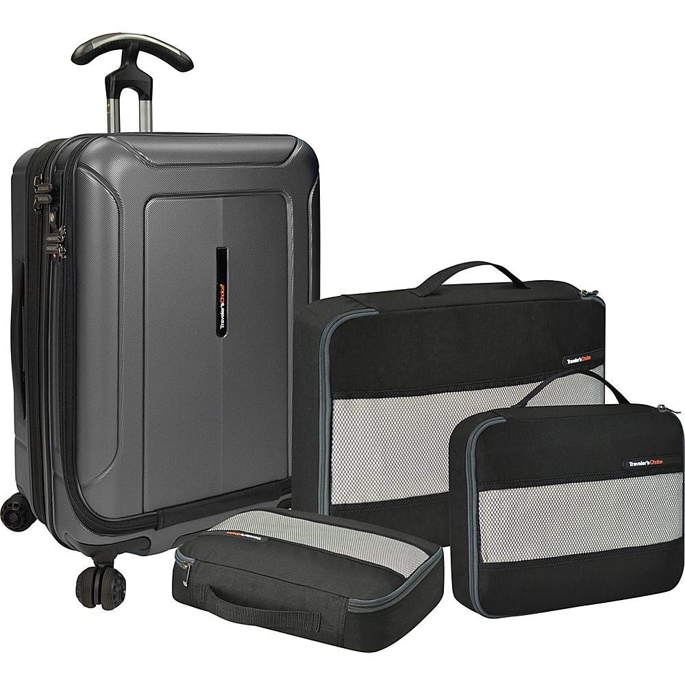 Traveler s Choice Barcelona 22 Polycarbonate Hardside Spinner Packing Cubes Set Gray Traveler s Choice Luggage Sets