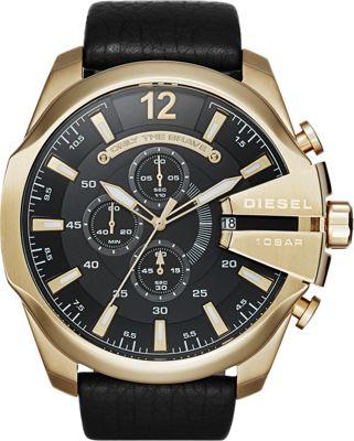Diesel Watches Mega Chief Leather Watch Black/Gold - Dies...