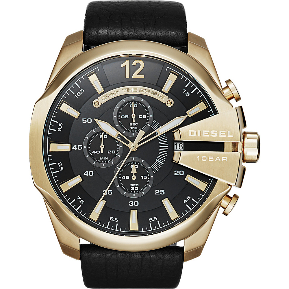 Diesel Watches Mega Chief Leather Watch Black/Gold - Diesel Watches Watches