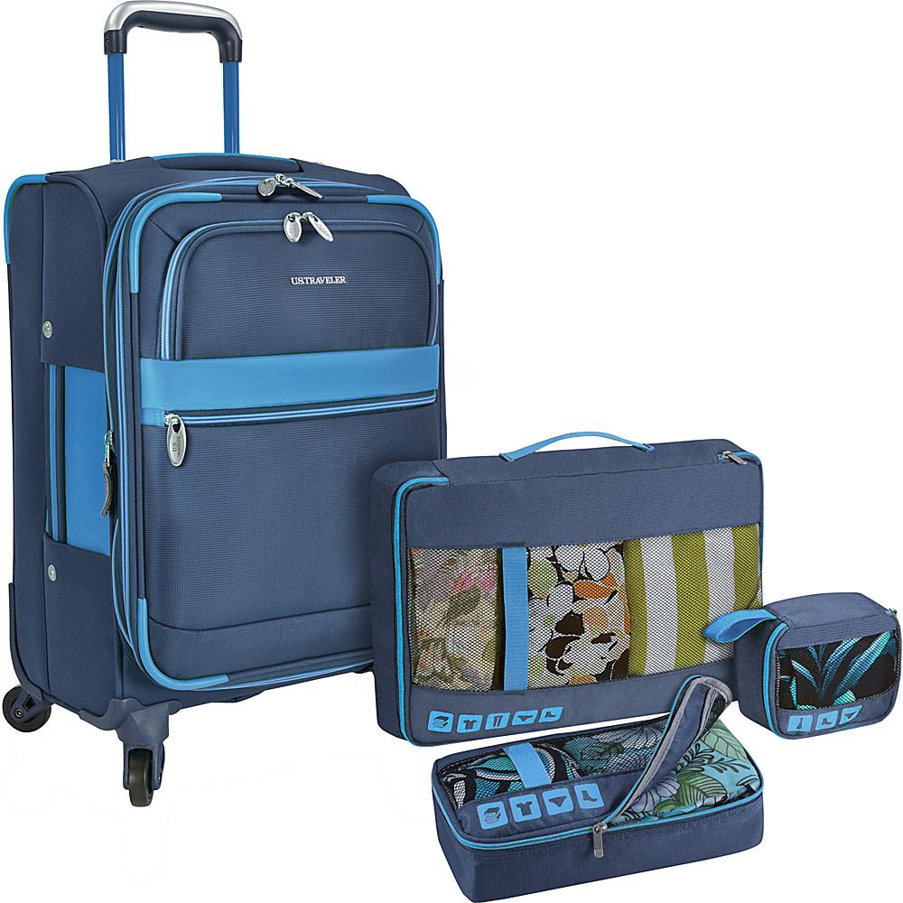 U.S. Traveler Alamosa 4 Piece Carry On Luggage Set Navy U.S. Traveler Luggage Sets