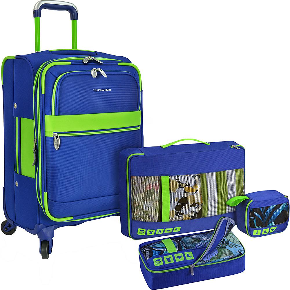 U.S. Traveler Alamosa 4 Piece Carry On Luggage Set Royal Blue U.S. Traveler Luggage Sets