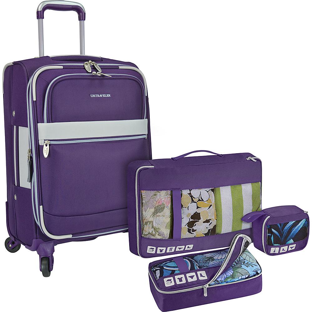U.S. Traveler Alamosa 4 Piece Carry On Luggage Set Purple U.S. Traveler Luggage Sets