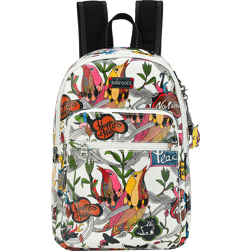 Sakroots Artist Circle Mini Backpack White Peace - Sakroots School & Day Hiking Backpacks