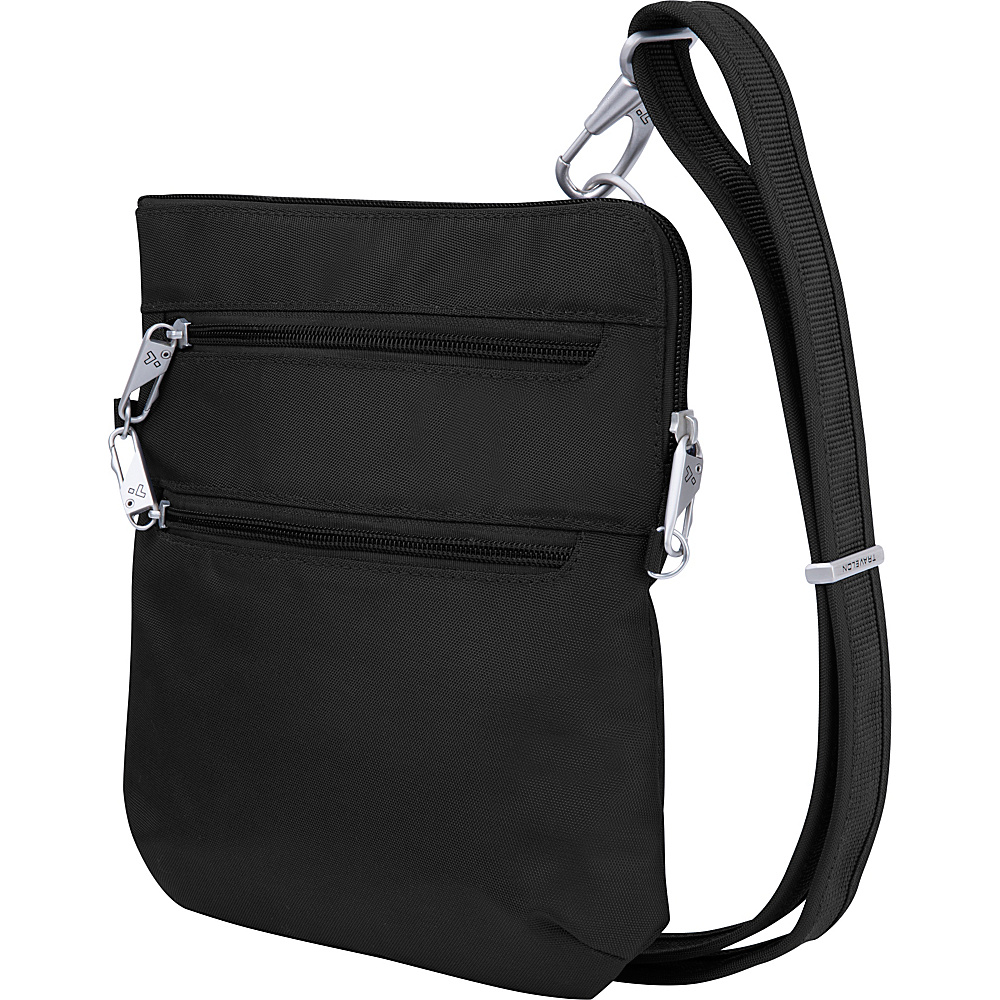 Travelon Anti-Theft Classic Slim Double Zip Crossbody Bag Black/Gray - Travelon Fabric Handbags - Handbags, Fabric Handbags