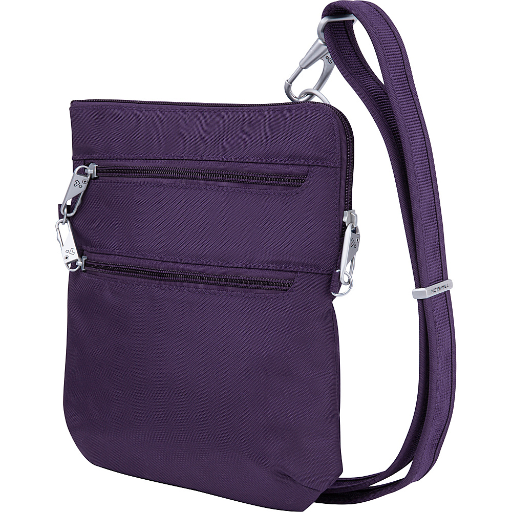 Travelon Anti-Theft Classic Slim Double Zip Crossbody Bag Purple/Gray - Travelon Fabric Handbags - Handbags, Fabric Handbags