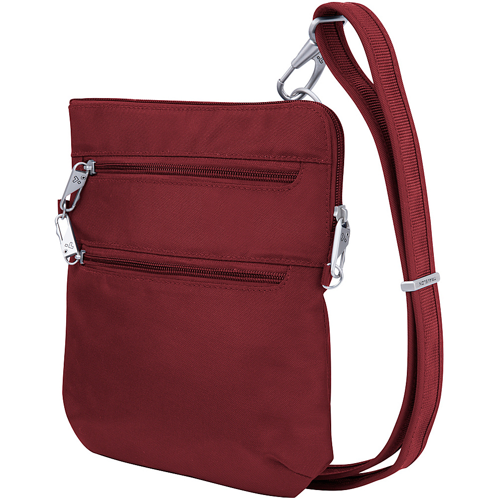 Travelon Anti-Theft Classic Slim Double Zip Crossbody Bag Cranberry/Light Sand - Travelon Fabric Handbags - Handbags, Fabric Handbags