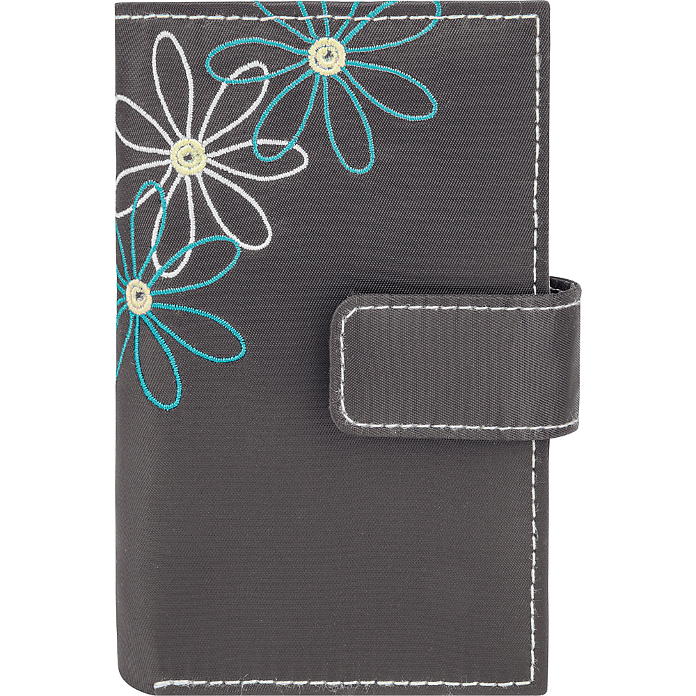 Travelon Safe ID Daisy Trifold Wallet Pewter/Blue Interior - Travelon Womens Wallets - Women's SLG, Women's Wallets