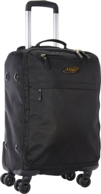 """Image of A. Saks 22"""" Expandable Lightweight Spinner Carry-On Black/Black - A. Saks Softside Carry-On"""