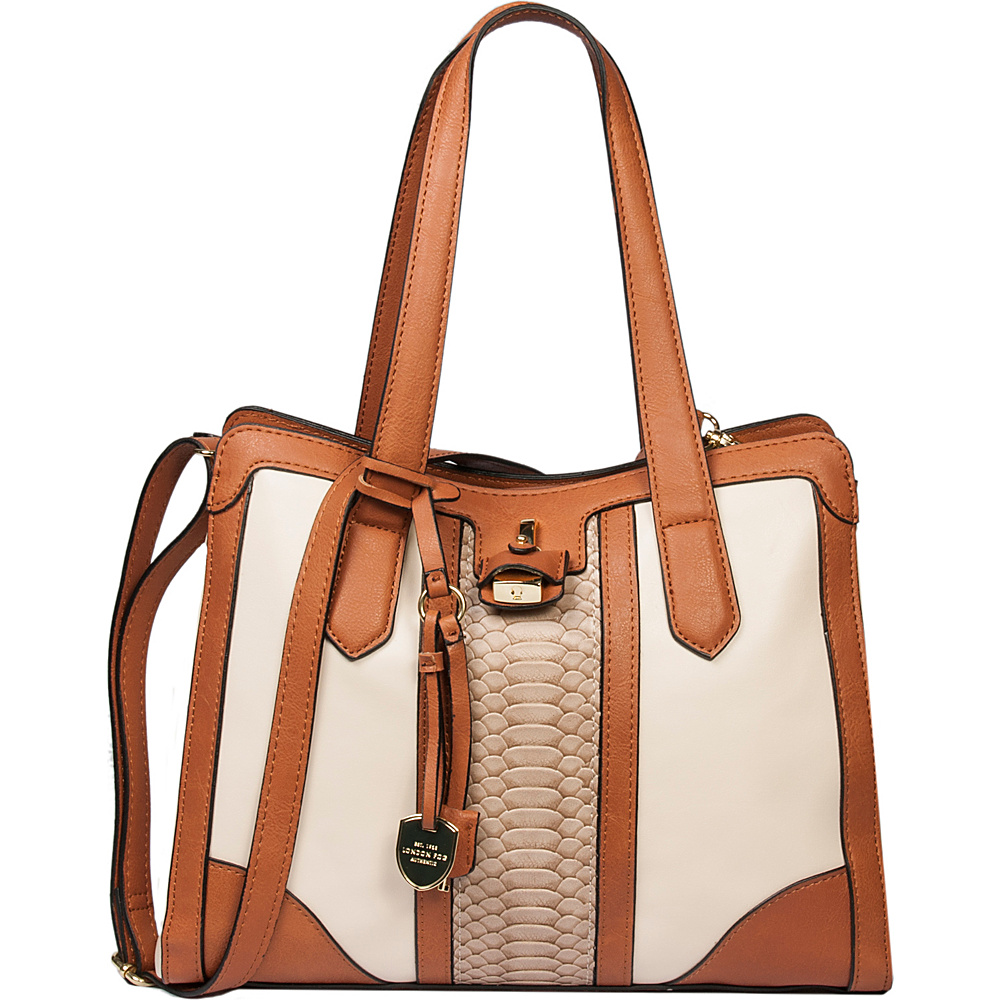 London Fog Handbags Skyler Triple Compartment Hobo Ivory Stripe - London Fog Handbags Manmade Handbags