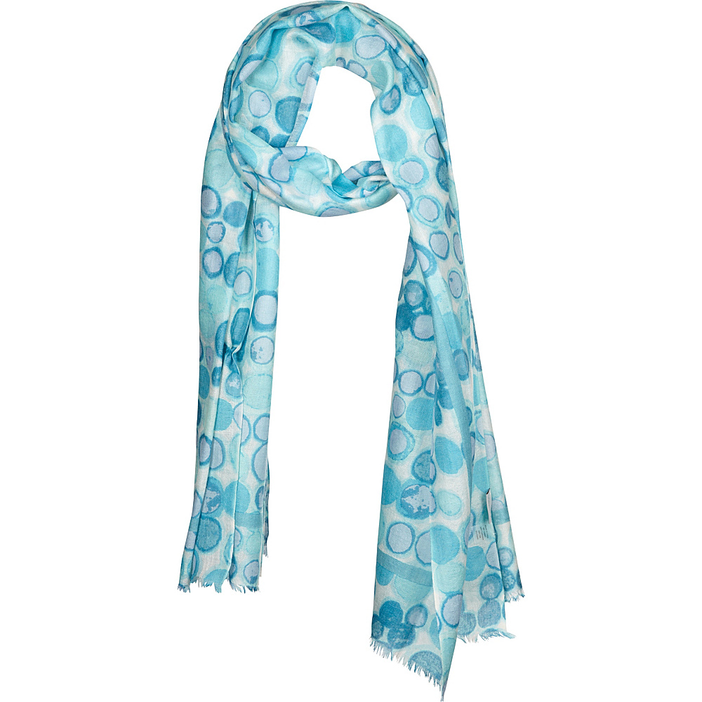 Kinross Cashmere Dot Print Scarf Aqua Multi - Kinross Cashmere Hats/Gloves/Scarves - Fashion Accessories, Hats/Gloves/Scarves