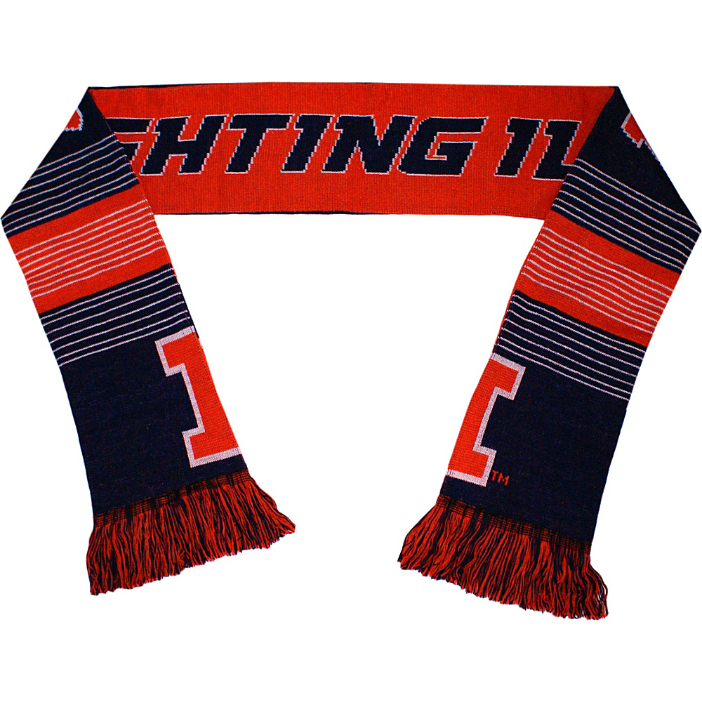 Forever Collectibles NCAA Reversible Split Logo Scarf Orange University of Illinois Fighting Illini Forever Collectibles Hats Gloves Scarves