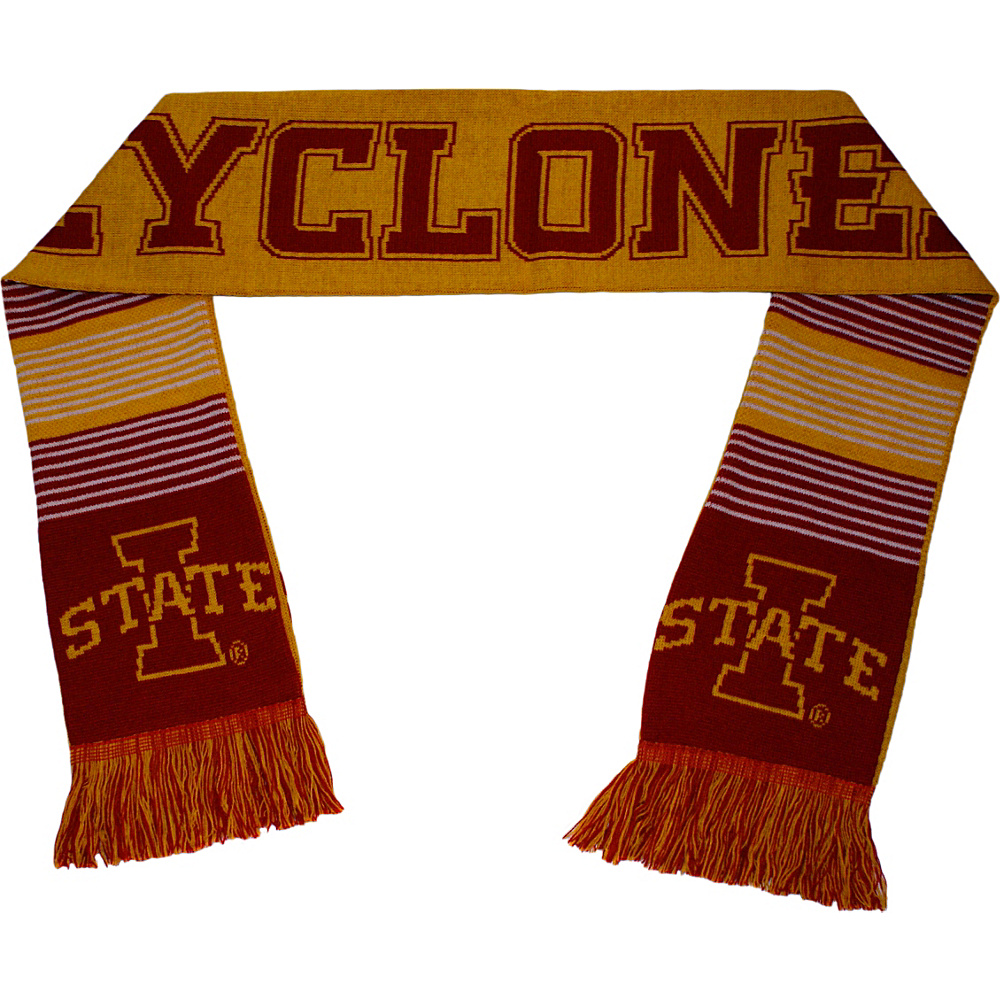 Forever Collectibles NCAA Reversible Split Logo Scarf Red Iowa State Cyclones Forever Collectibles Hats Gloves Scarves