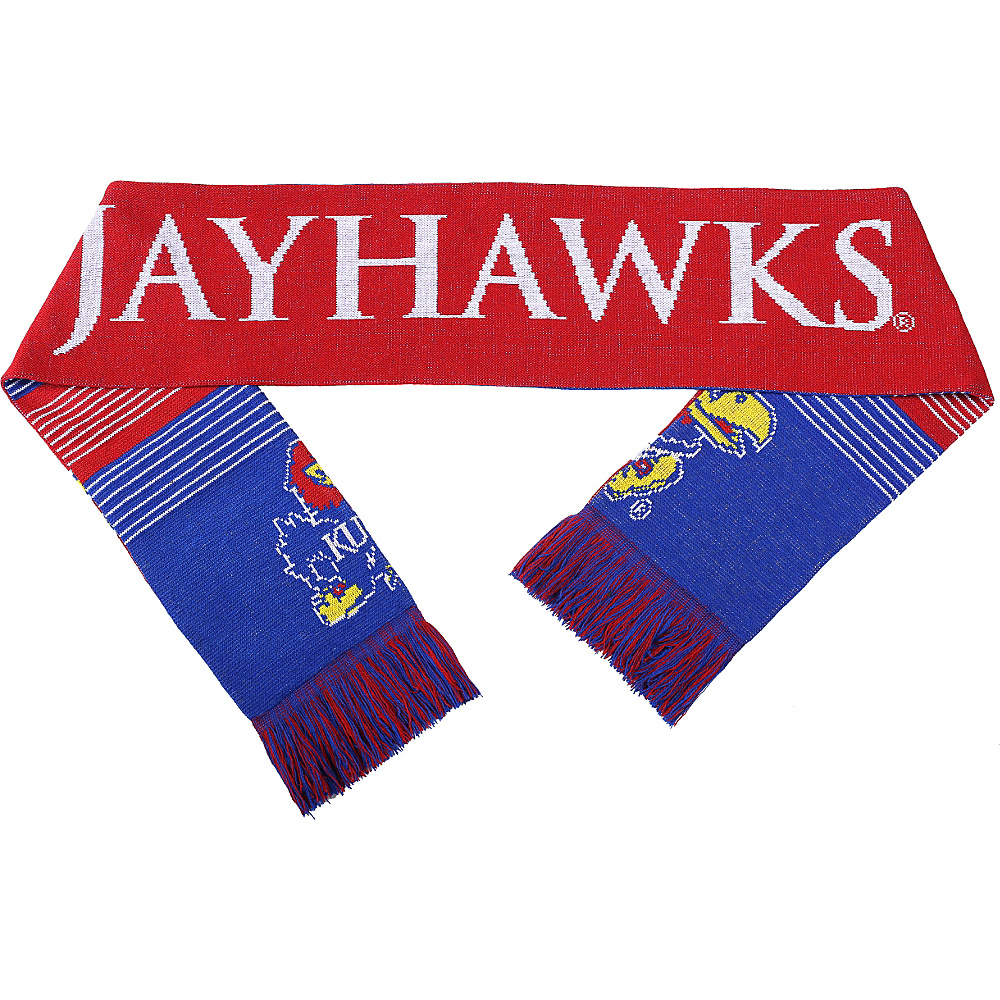 Forever Collectibles NCAA Reversible Split Logo Scarf Blue University of Kansas Jayhawks Forever Collectibles Hats Gloves Scarves