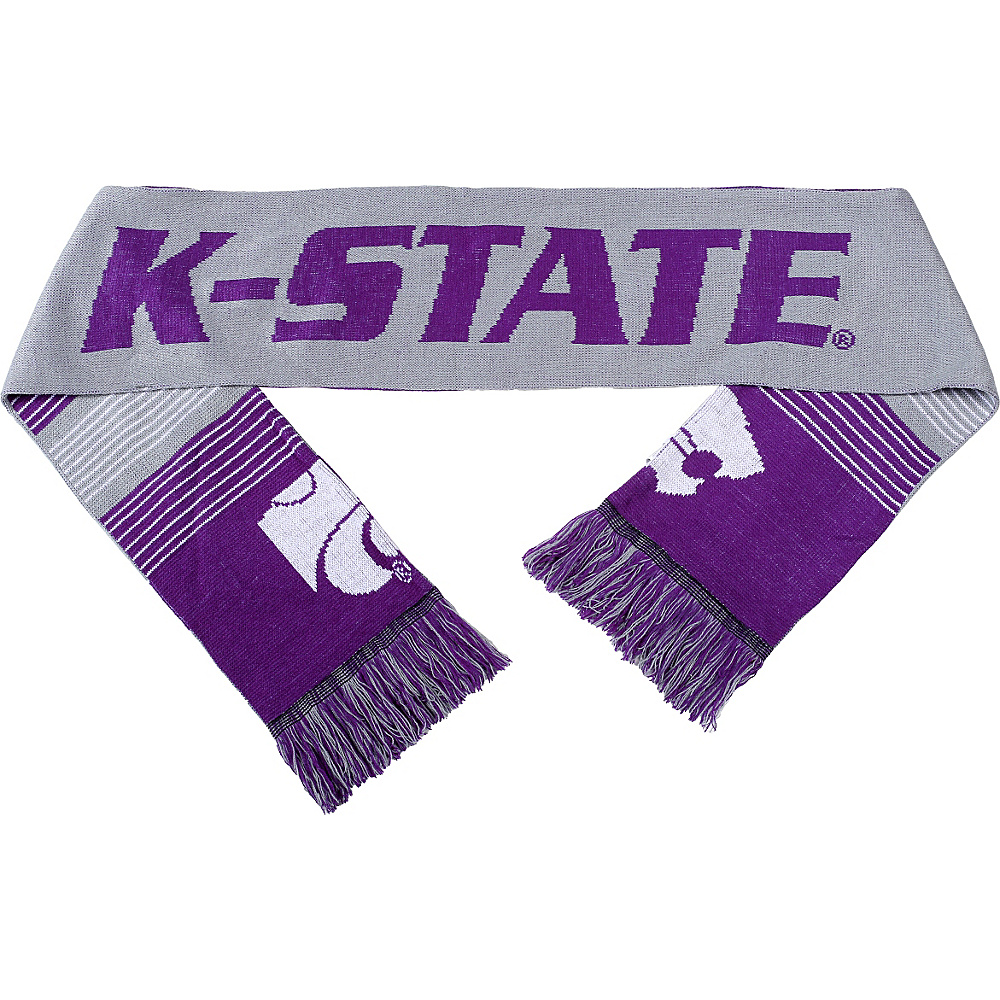 Forever Collectibles NCAA Reversible Split Logo Scarf Purple Kansas State Wildcats Forever Collectibles Hats Gloves Scarves