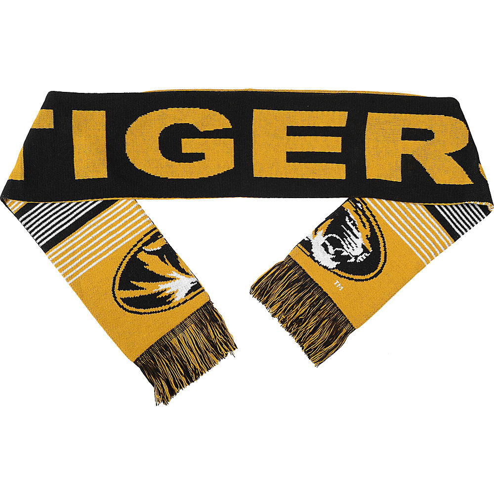 Forever Collectibles NCAA Reversible Split Logo Scarf Black University of Missouri Tigers Forever Collectibles Hats Gloves Scarves