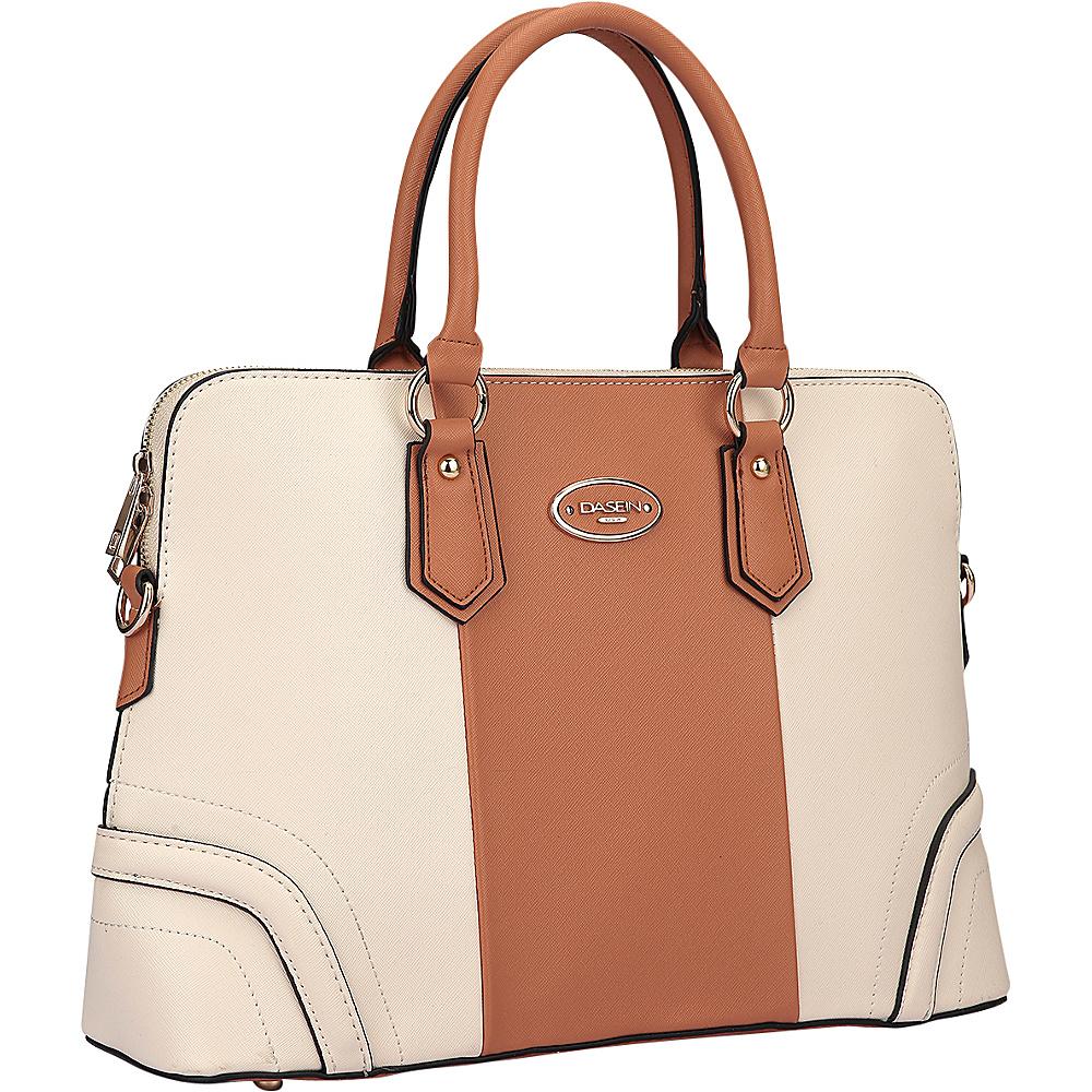 Dasein Colorblock Slim Briefcase with Removable Shoulder Strap Beige/Brown - Dasein Manmade Handbags