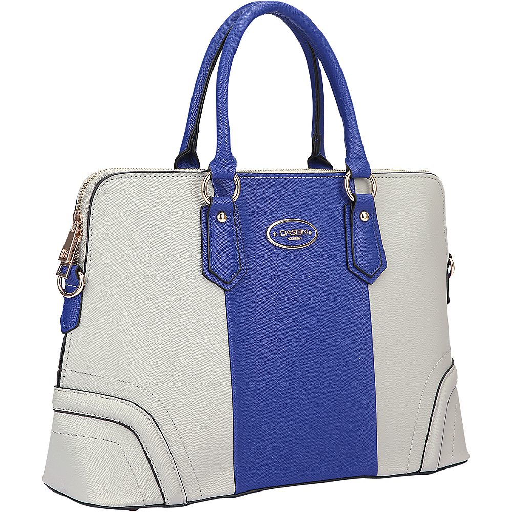 Dasein Colorblock Slim Briefcase with Removable Shoulder Strap Grey/Blue - Dasein Leather Handbags