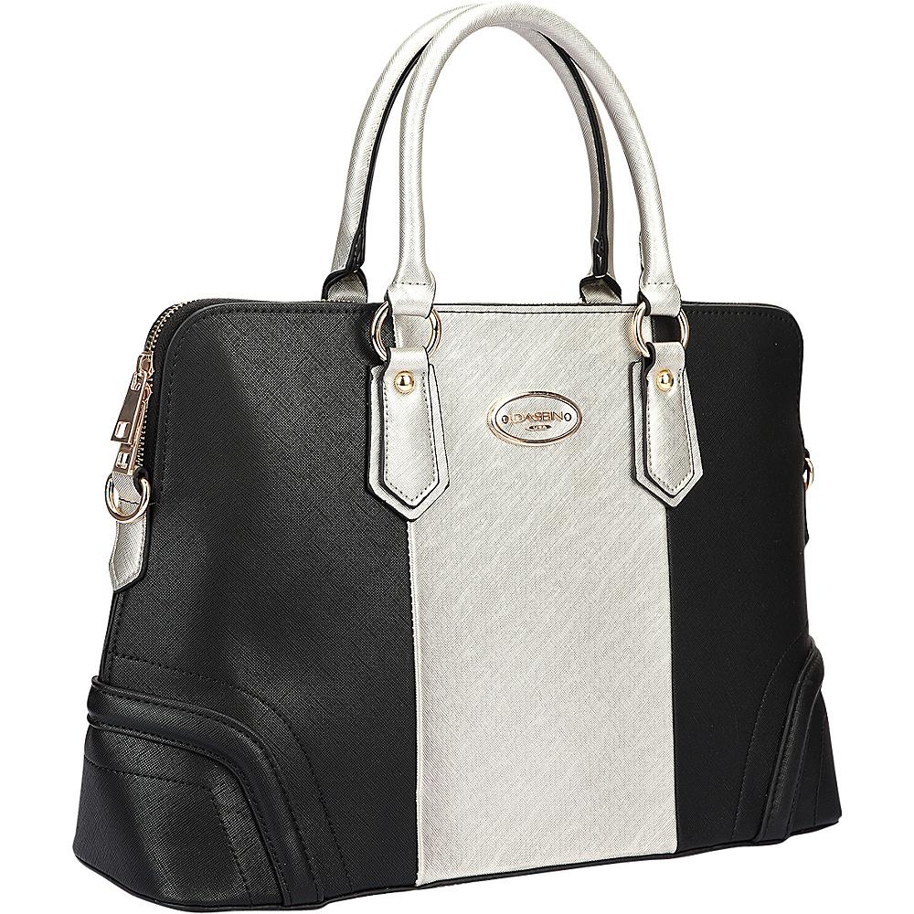 Dasein Colorblock Slim Briefcase with Removable Shoulder Strap Silver/Black - Dasein Manmade Handbags